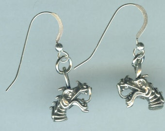 Sterling Silver DRAGON Earrings- French Earwires -Celtic, Totem, Fantasy, Renaissance