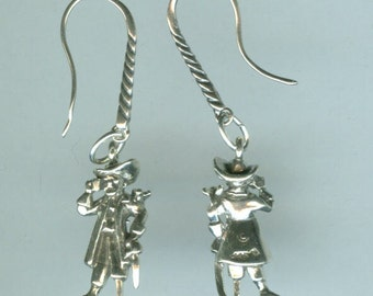 Sterling Silver PIRATE Earrings - French Earwires - 3D -