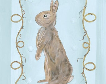 Brown and Blue Bunny Ready to Frame Kids Girls or Boys Nursery Stretched Canvas  Set of Two 8x10