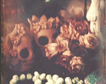 Day of the Dead, Skulls, Skeletons, Day of the Dead Relics Still Life, Dia De Los Metros, Merle Pace