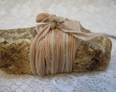 "Tea Silk Beige Hand Dyed Silk Ribbon with Light Tan Stitched Edges 3' x 1/2"" for Jewelry Making"