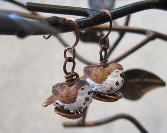 Song Sparrow Resin Bird Bead Earrings Sitting on a Copper Wire Nest