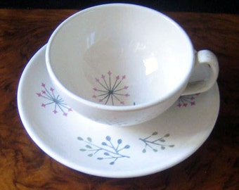 Franciscan Echo mid century modern cup and saucer, 1950s.