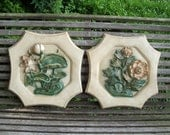 Awesome Mid Century Floral Motif Plaster Wall Hangings