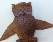 Vintage Wooden Owl Wall Hanging with movable wings