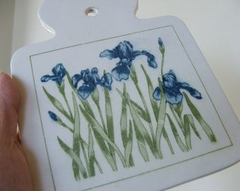 Vintage Ceramic Trivet Wall Hanging with blue irises