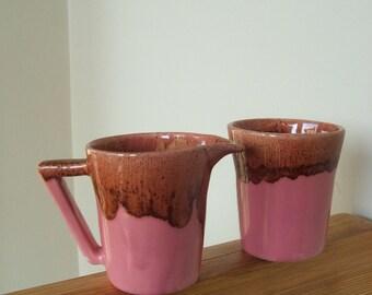 Vintage Winart Pottery Cream and Sugar Drip Glaze