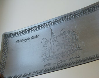 Vintage Hammered Aluminum Tray Souvenir of Norway
