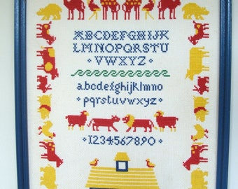Vintage Noah's Ark Framed Counted Cross Stitch