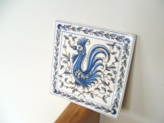 Vintage hand painted ceramic tile from by lookonmytreasures - Hand painted ceramic tile ...