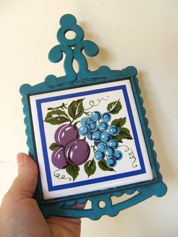 Vintage Ceramic Tile Cast Iron Trivet Blue And Purple Fruit
