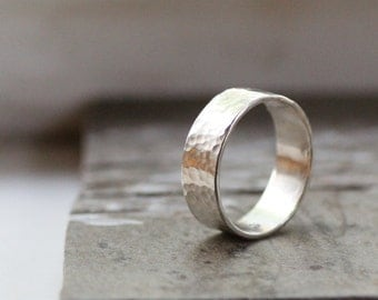 For Ashley Rustic Simple Wedding Band in Sterling