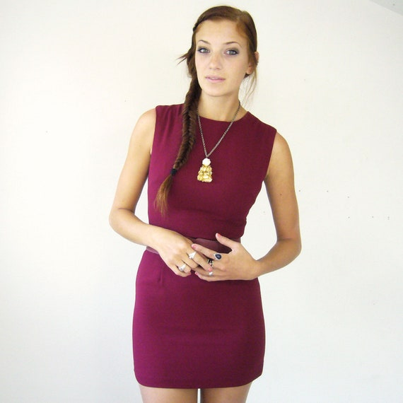 Classic Vintage Cocktail Dress in Wine