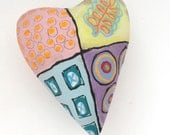 Love Folk Art Ceramic Heart Wall Sculpture Pillow -  Abstract graffiti Valentine