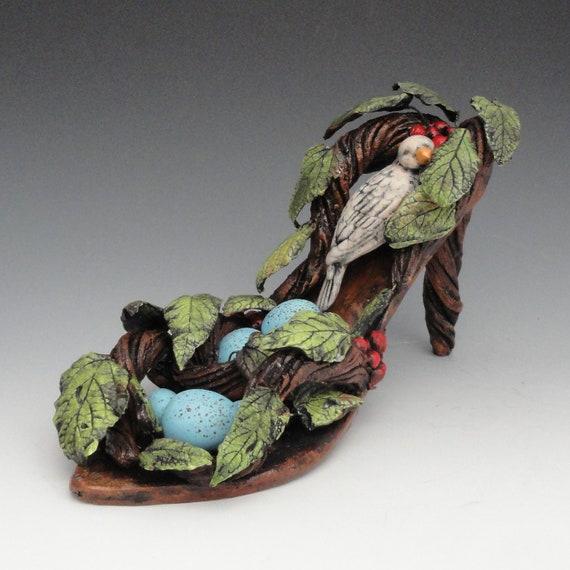 Ceramic Shoe Sculpture Birds Nest Shoe Sculpture (READY TO SHIP)