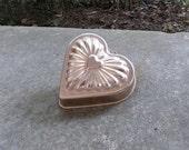 Vintage Copper Mold Farmhouse Kitchen Decor Heart Cake Pan Candy Mold Gelatin Mold Valentines Day French Country