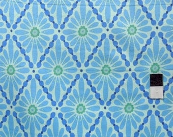 Valori Wells FVW11 Urban Flannels Floral Diamonds Blue Cotton FLANNEL Fabric 1 Yard
