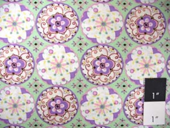 Dena Designs DF11 Sundrop Circle Blossons Green Cotton Fabric FAT QUARTER
