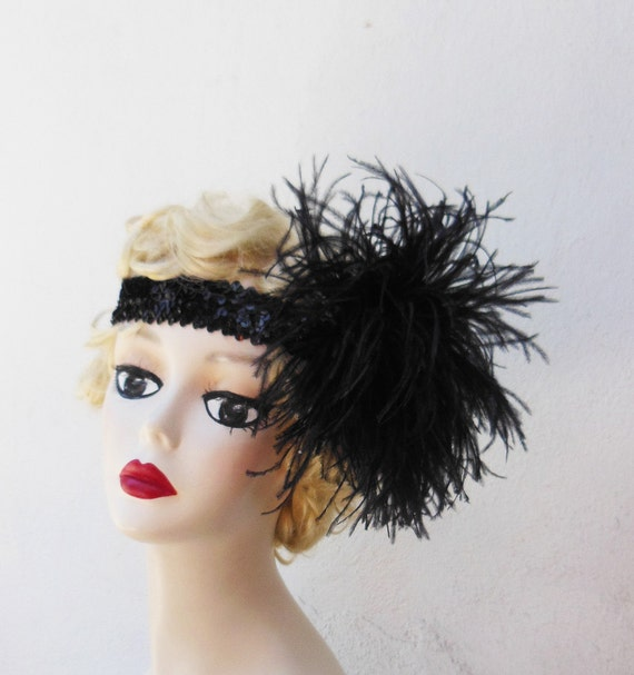 great gatsby style hair accessories items similar to black feather headband great gatsby 7346