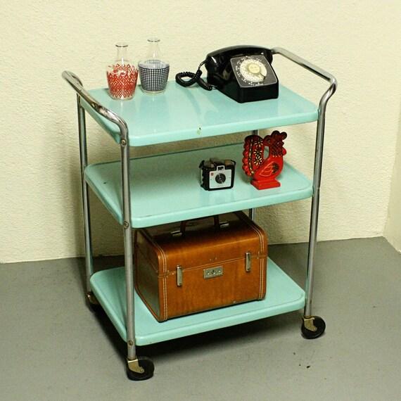 Vintage metal cart - serving cart - kitchen cart - Cosco - aqua blue ...