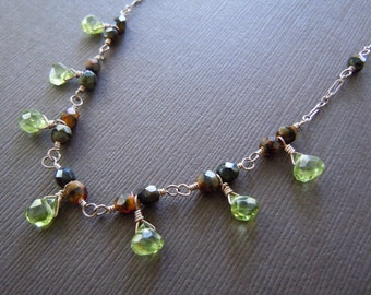 Peridot Caramel Swirl  Beaded Necklace - Sample Sale