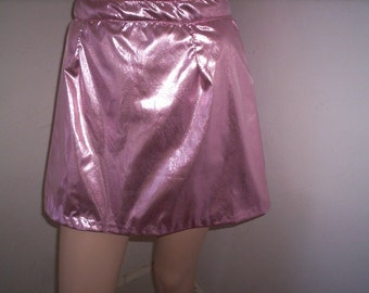 """Pink Lamee lined Repurposed   mini skirt 26"""" W By Anna Herman"""