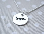 cursive font name charm...personalized fine silver necklace