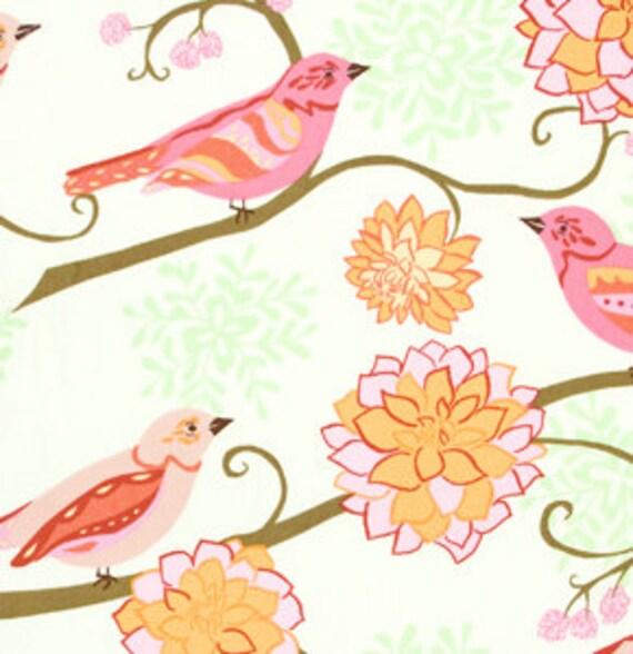 DeStash SALE - Bird Paisley FLANNEL/Tangerine by Valori Wells - Bliss Flannel Collection - One Half Yard