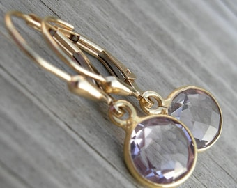 Pink Amethyst Bezel Set Gold Fill Earrings February Birthstone