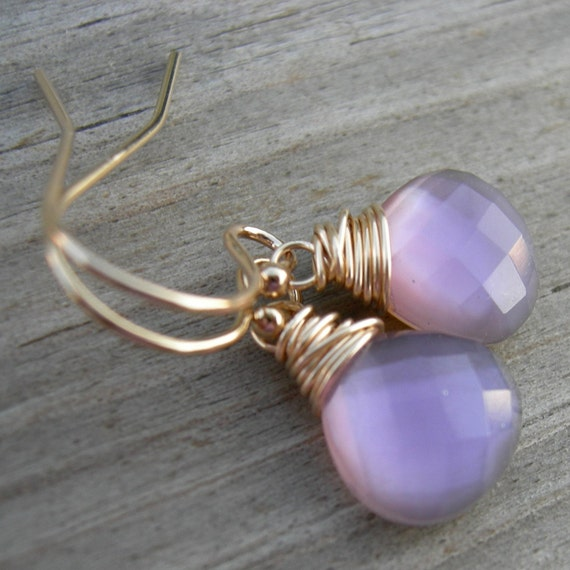 Orchid Pink Topaz Mother of Pearl Doublet Gold Fill Earrings