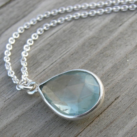 SHIPS IMMEDIATELY Moss Aquamarine Sterling Silver Pendant