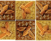 "Ceramic Bee Tiles in Amber and Apricot Gold Glaze (3"" x 3"")"
