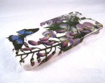 A Blue Butterfly and Purple Flowers iPhone 3, 4/4S, 5/5S, 5C, 6 or iPod Touch Case Back Cover