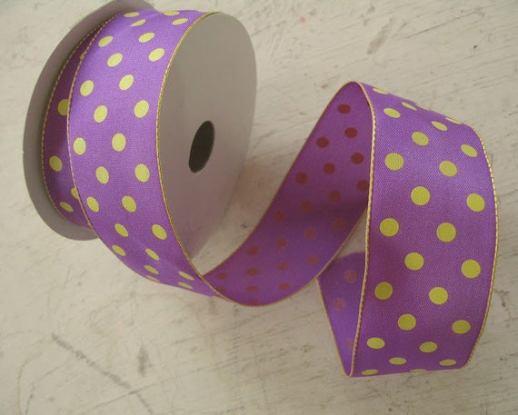 Purple and Gold 1-1/2 Inch Polka Dot Wired Ribbon - 1-1/2 yards