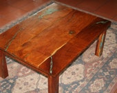 Mesquite coffee table with turquoise