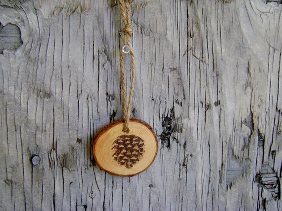 Log Slice Ornament with Handpainted Pinecone