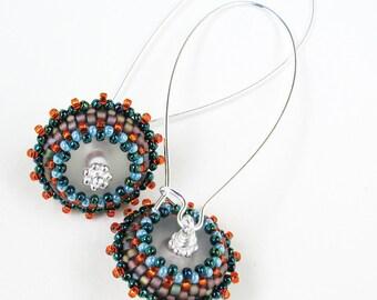 Orange Beaded Bead Earrings Long Kidney Wires Flying Saucer