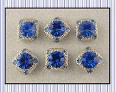 "Beads ""Stardust Gala"" Sapphire Blue 8mm Swarovski Crystal Elements ~ 2 Hole Sliders QTY 6"
