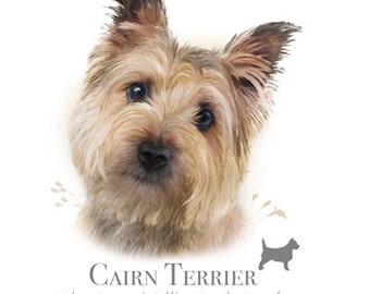 CAIRN TERRIER dog with Phrase on One 18 x 22 inches Fabric Panel for Sewing.Actual picture is of 10  x 10 1/2 inches on white background.