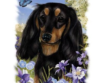 "DACHSHUND Black Longhair Dog with Flowers on ONE 18 x 22 inch inch Fabric Panel for Quilting and Sewing. Picture is 9"" x 11""."