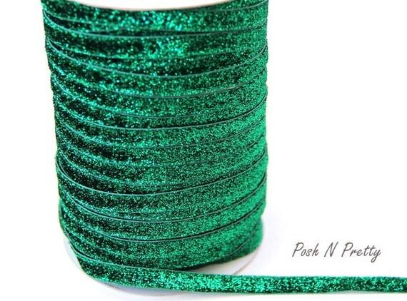 3/8 Glitter Stretch Velvet Elastic 5 YARDS - NO FLAKE - Christmas Green