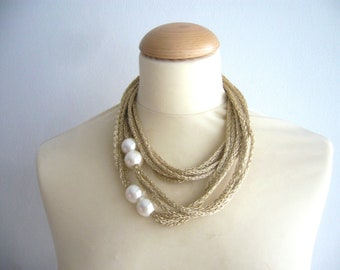 Gold and white pearls necklace in metallic  new, multi strand necklace