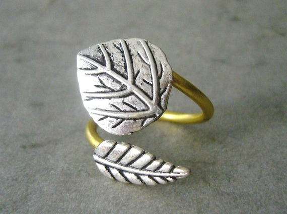 silver leaf ring, adjustable ring, statement ring