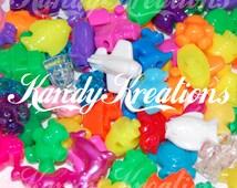 SALE 100 Assorted Novelty Pony Beads for Kandi Raver Kandy Rave Dummy Clips Bird Toys jumbo big sized animals lacing autism necklaces games