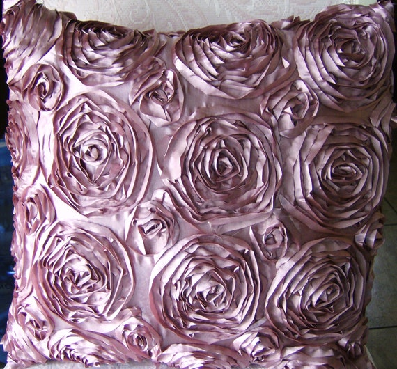 Mauve Rose Pink satin Roses throw pillow shabby chic vintage style decor