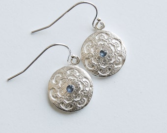 Blue Sapphire and Silver Classic Style Earrings