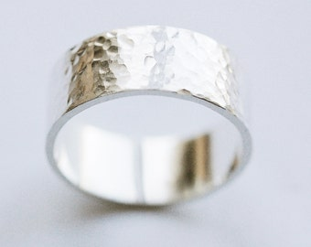 Delicately Hammered Silver Band Ring