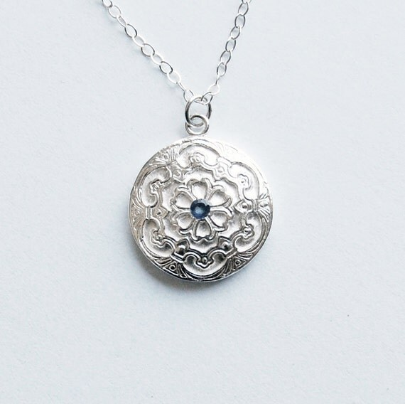 Blue Sapphire and Silver Classic Style Petite Pendant Necklace