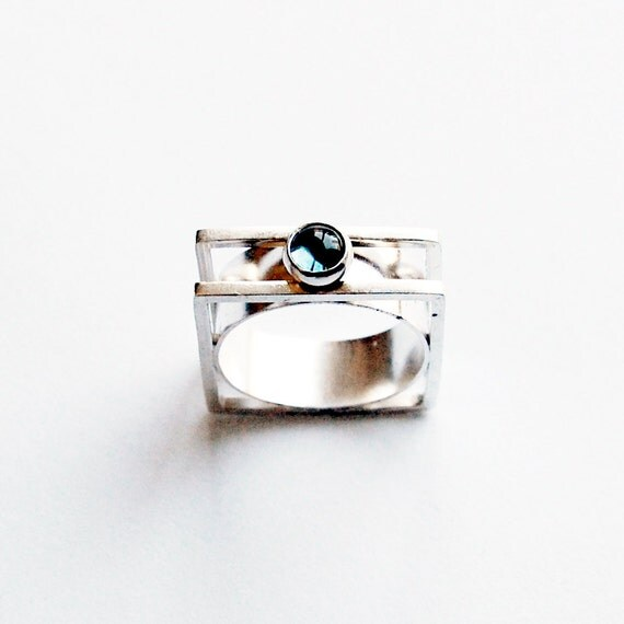 Square Silver and London Blue Topaz Cabochon Modernist Ring Size 6 - 6 1/2