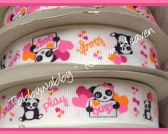 """M2MG Panda Academy Valentines 25 yd roll 7/8""""Grosgrain Ribbon  - TWRH"""
